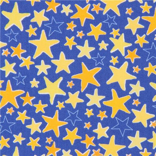 dark blue Robert Kaufman fabric yellow light orange star Monsters