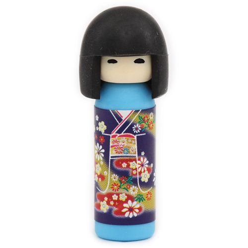 blue Japanese Kokeshi dolls eraser flowers from Japan