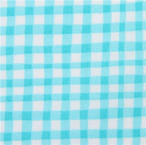turquoise white Michael Miller fabric checkered pattern Gingham Play
