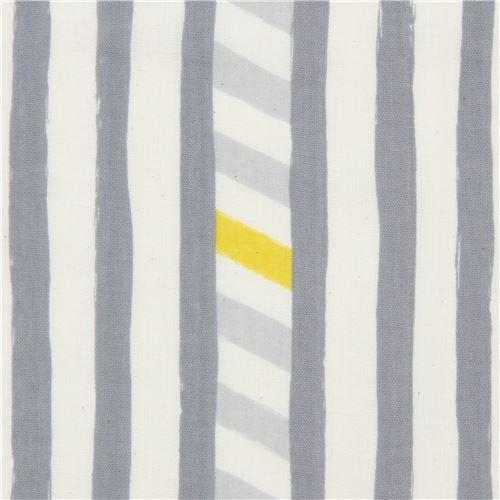 echino double gauze fabric with grey light cream stripe Line