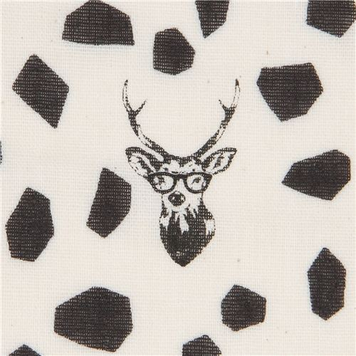echino natural color double gauze fabric with stag and black shape
