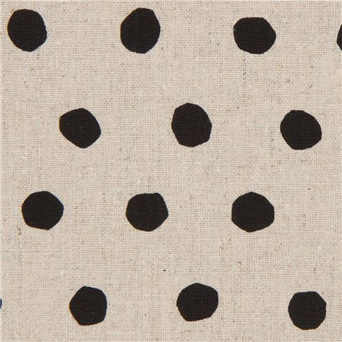 natural color echino canvas fabric with black dots Standard