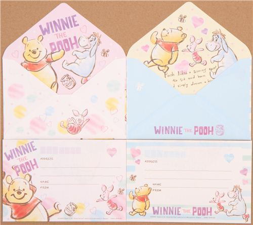 cute Winnie the Pooh bear dots hearts Letter Set