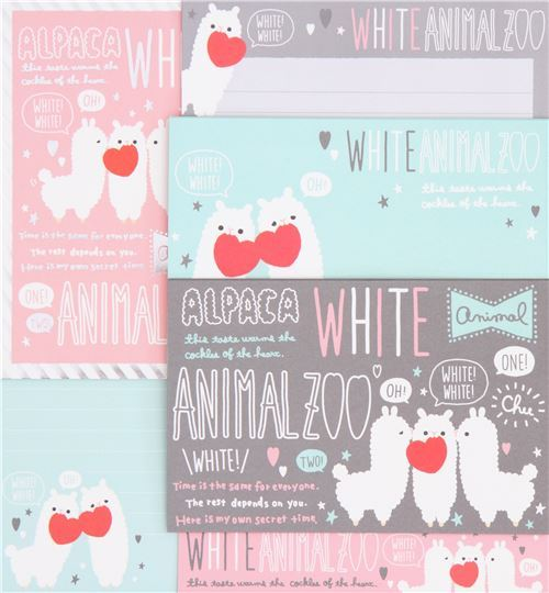 cute heart alpaca silver metallic embellishment Letter Set by Q-Lia from Japan