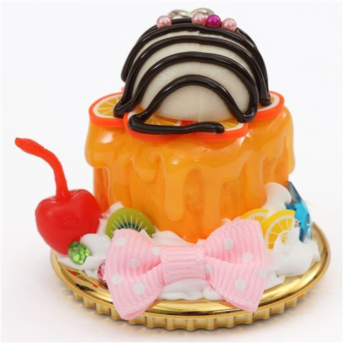 brown orange sauce pink bow ice cream honey toast dessert figure from Japan