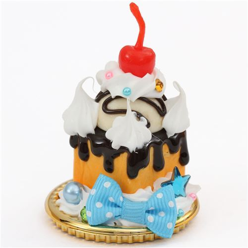 cherry blue bow brown sauce ice cream honey toast dessert figure from Japan