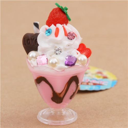 pink white ice cream strawberry biscuit parfait figure from Japan