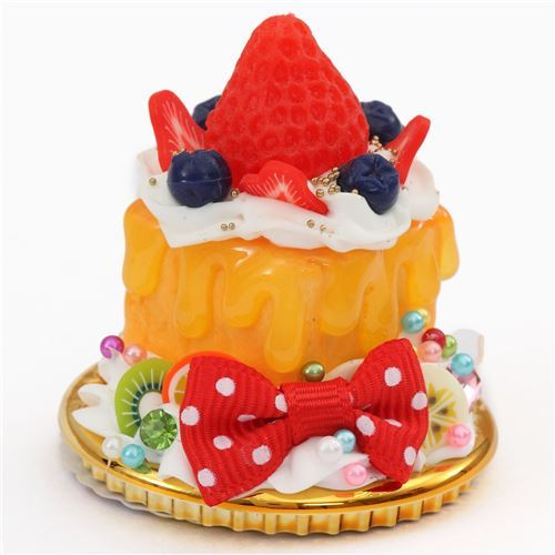 strawberry red bow orange sauce cream honey toast dessert figure from Japan