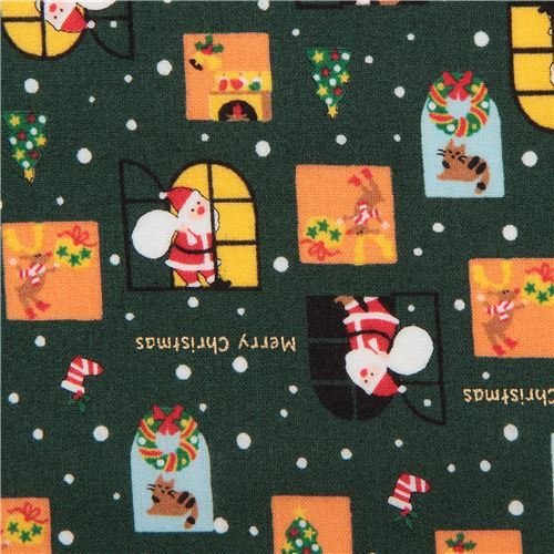 dark green cute Christmas santa reindeer window gold metallic fabric