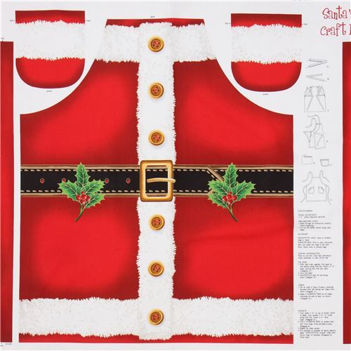 fabric Santa apron Christmas gold metallic embellishment Quilting Treasures