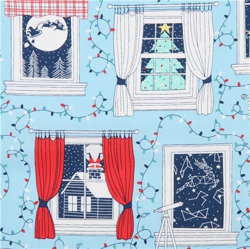 Christmas fabric by Ink & Arrow fabric with windows