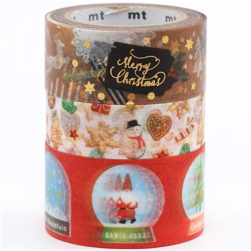 mt Washi Tape deco tape set cookie snowglobe 3pcs Merry Christmas