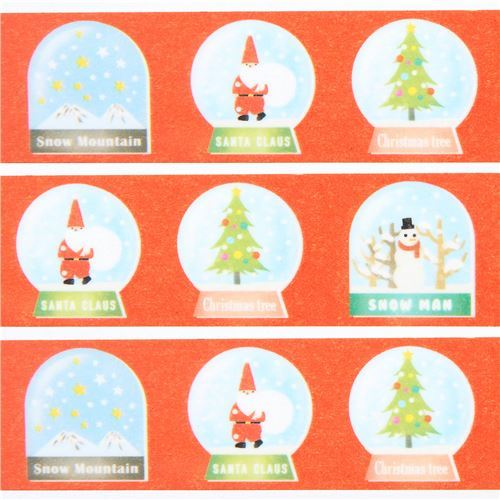 mt Washi Tape red with snowglobe deco tape Merry Christmas