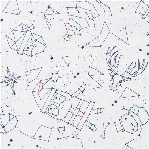 white Christmas constellation fabric by Ink & Arrow