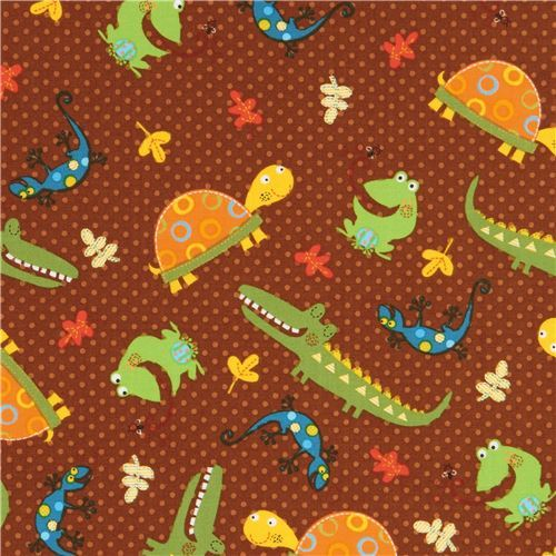 cute brown crocodile turtle animal fabric Fun with Nature Blank Quilting USA