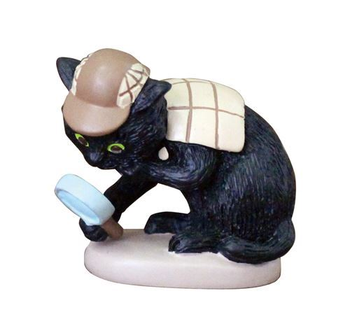 black cat detective with magnifying glass figurine from Japan