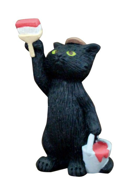 black cat paint brush and bucket figurine from Japan