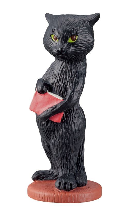 black cat with red book figurine from Japan