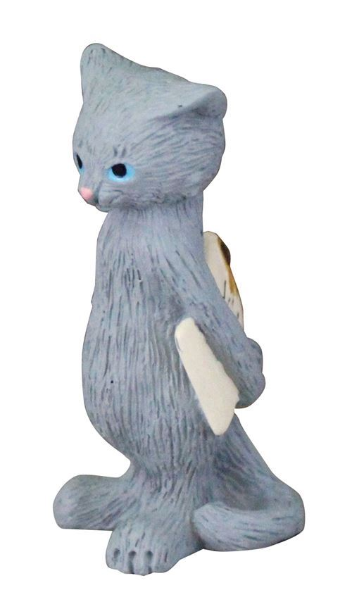 grey cat with letter item figurine from Japan
