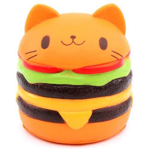cute jumbo cat hamburger scented squishy cheeseburger