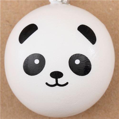 panda bear bun squishy cellphone charm kawaii