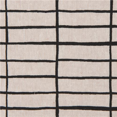 linen and cotton natural color rectangle pattern fabric by Robert Kaufman