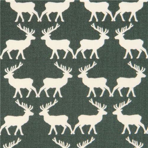green Riley Blake reindeer stag animal fabric 'Postcards for Santa'