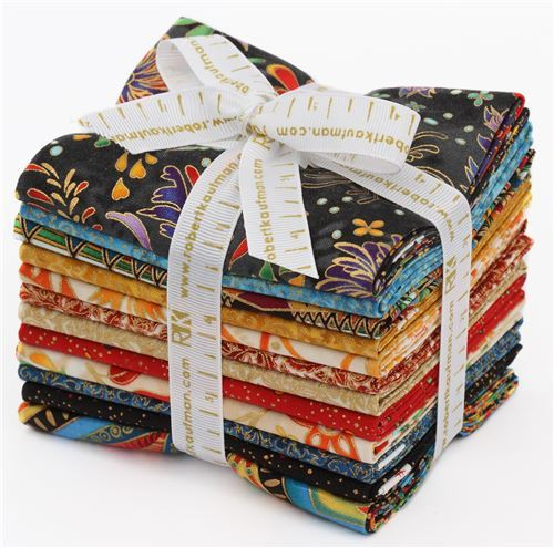 Fat Quarter fabric bundle flower dot Jewel Colorstory Robert Kaufman