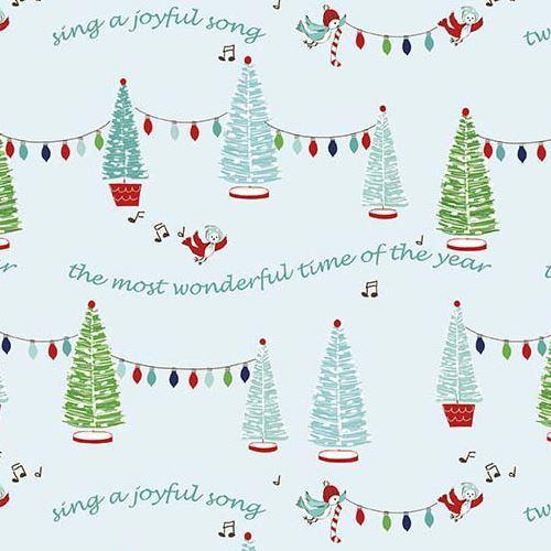 blue Riley Blake fabric Christmas light tree bird Pixie Noel