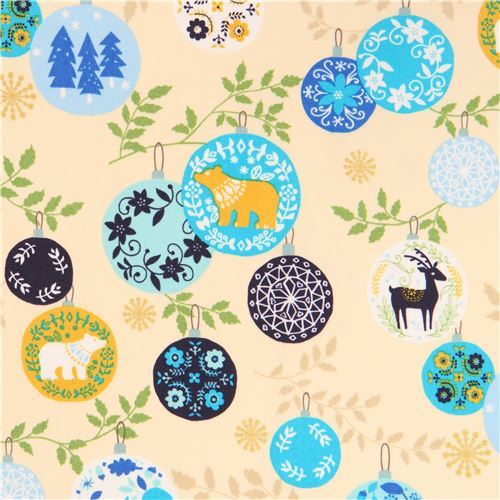 cream oxford fabric colorful animal Christmas ornament gold metallic by Kokka