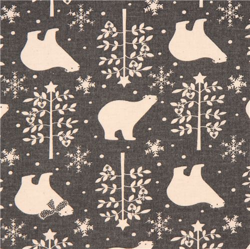 grey brushed Canvas bear tree snowflake fabric by Kokka from Japan