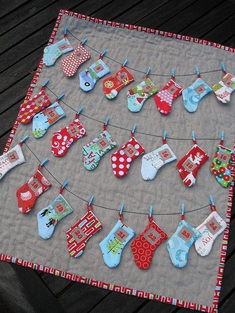 How cute are these advent stockings? They're by Caroline of TrilliumDesign