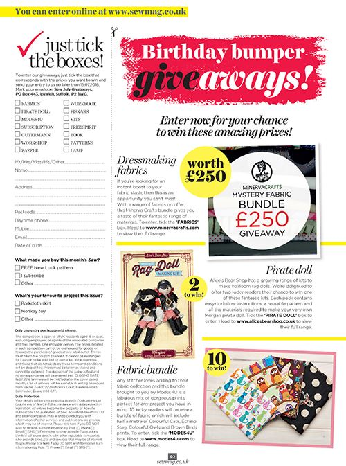 The page we are featured on, in Sew Magazine's July edition. Image courtesy of Sew Magazine.
