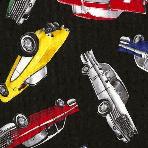 black fabric with colorful retro car by Timeless Treasures