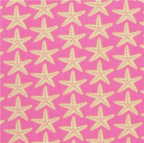 pink with light yellow starfish fabric Timeless Treasures