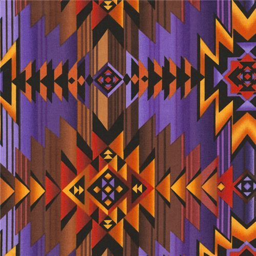 purple brown triangle pattern fabric Timeless Treasures
