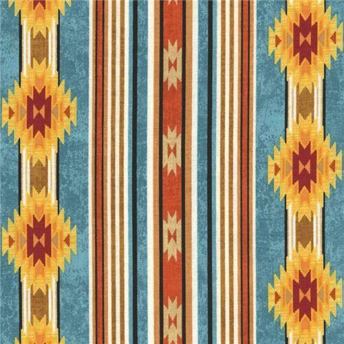 teal orange black stripe triangle shape design fabric Timeless Treasures