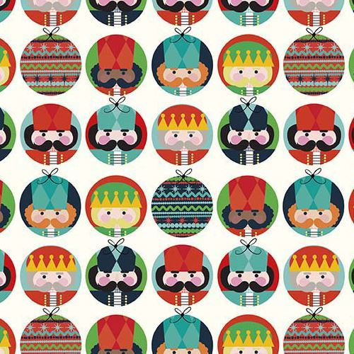 light cream Riley Blake fabric circle Nutcracker soldier Nutcracker Christmas