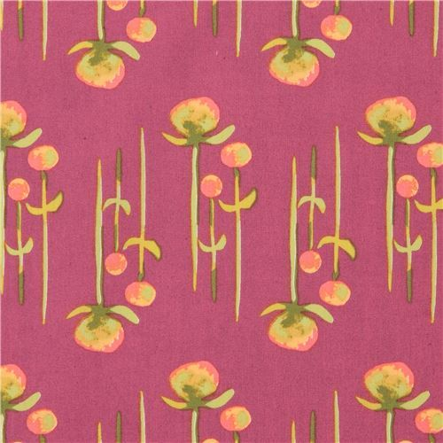 dark purple with flower organic fabric monaluna