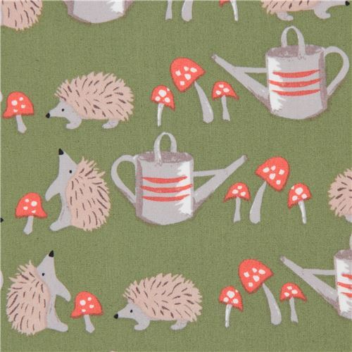 green hedgehog animal watering can poplin organic fabric monaluna USA