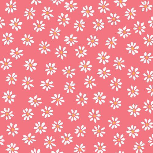 pink with white daisy flower poplin organic fabric monaluna USA
