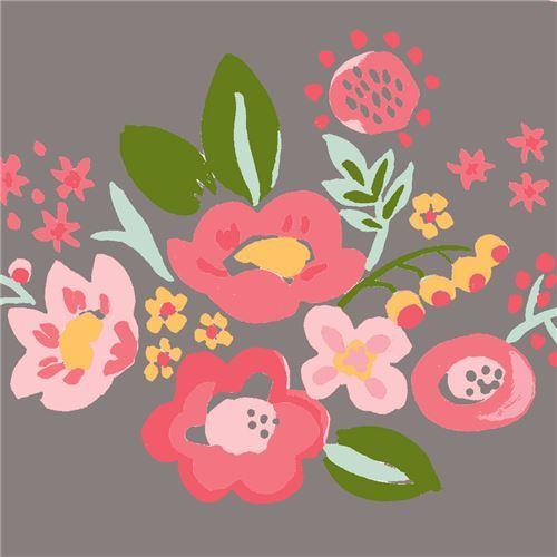 taupe with pink light pink flower green leaf poplin organic fabric monaluna USA