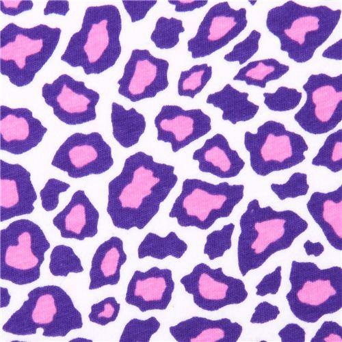 Robert Kaufman Cheetah purple Laguna Jersey knit fabric
