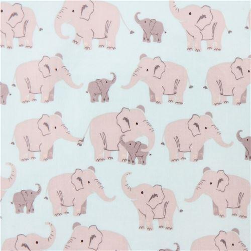 aqua cute grey elephant laminate fabric by Robert Kaufman USA