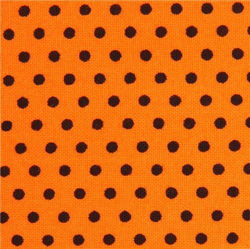 orange Robert Kaufman mini black dot fabric Spot On