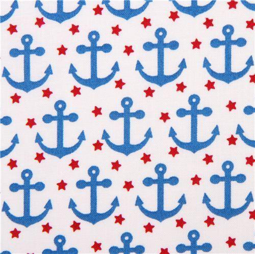 white maritime anchor fabric Robert Kaufman 'Fabulous Foxes'
