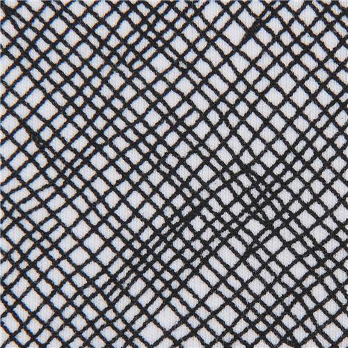 black and white grid pattern knit fabric Robert Kaufman USA Blake Cotton Jersey
