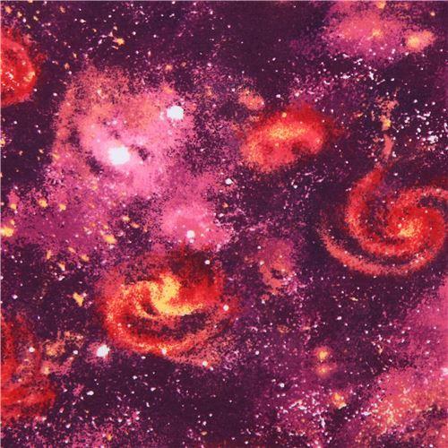 galaxy space Robert Kaufman purple orange Laguna Jersey knit fabric