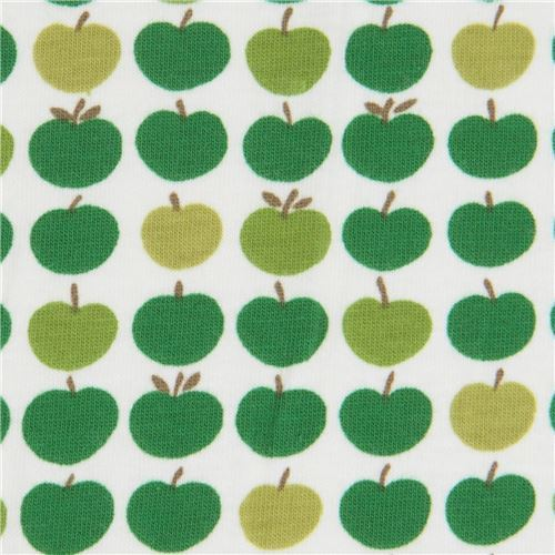 green apple Robert Kaufman off-white Laguna Jersey knit fabric