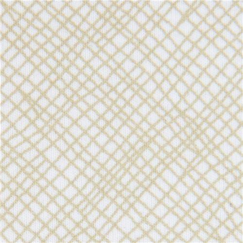 olive green light cream  grid pattern knit fabric Robert Kaufman